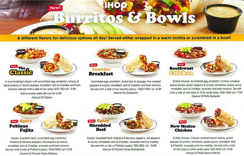 ihop burritos and bowls