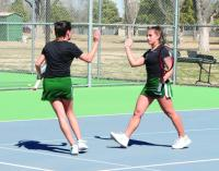 Lady Saints tennis competes at JUCO Showcase tournament