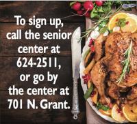 Senior Center to provide Thanksgiving meal Monday